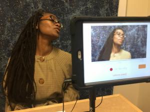 Erin Algeo, Listening Station, Berkeley Library